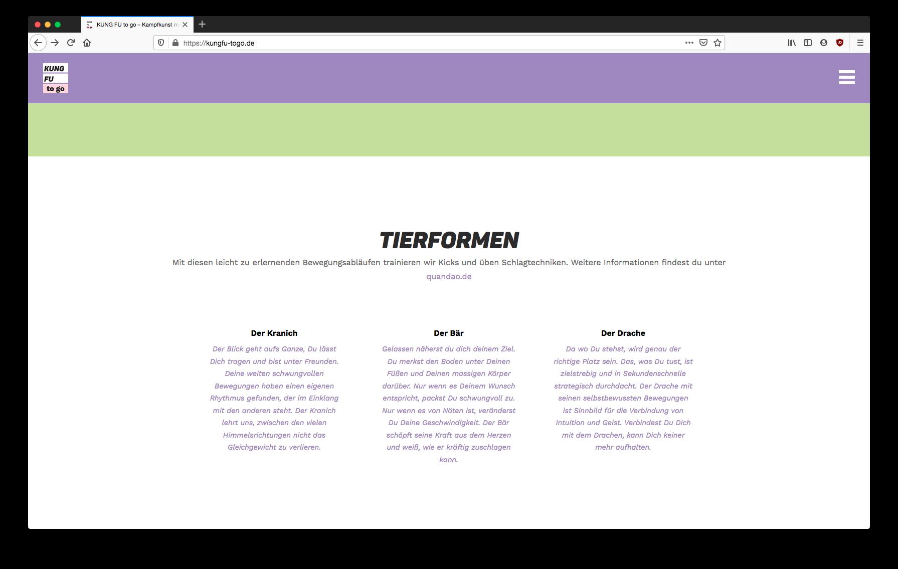 """""""KUNG FU to go"""" Konzeption, Webdesign und Flyergestaltung – ein Projekt von Simon Sleegers"""